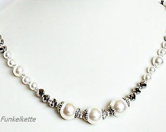 Pearl White silver necklace glamorous festive chain necklace Crystal beads sparkling sparkling glitter effect