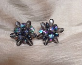 Vintage Germany Iridescent Glass Bead Cluster Clip-on Earrings