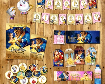 Beauty and the Beast party Package, beauty and the beast invitations, Baner, beauty and the beast party, Bella Cupcake toppers| PACK_BELLA
