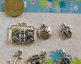 metal - getaway (globe, suitcase...) 6 charms