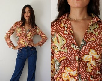 Vintage 70s Polyester Groovy Psychedellic Bird and Floral Print Button Down Shirt