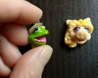 The Muppets.Kermit the frog and Miss Piggy .Sesame Street. . Sterling silver 925.stud earings.hand made.polymer clay.fair trade
