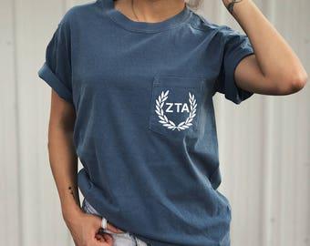 Zeta Tau Alpha Comfort Colors Laurel ZTA Unisex Pocket T-shirt