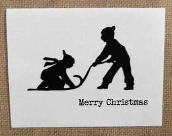 Children Sledding Christmas Card, Christmas Card set, Holiday Card set, Handmade Christmas Card