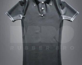 Mens metallic gray latex polo shirt 0,4 mm