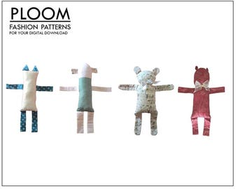 Easy Childs Teddy; digital pattern, easy to sew, great gift, fun and colourful toy by PLOOM Patterns