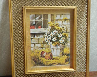 Miniature picture, daisies still life, framed in wicker style frame