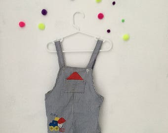 Vintage baby clothing, 80s baby clothes, vintage baby overalls, 1980s baby outfit, 18 month vintage clothes, 80s clothes