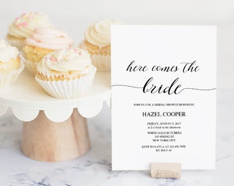 Bridal Shower Invitation Template, Printable Wedding Shower, DIY Shower Invite, Instant Download, Editable PDF, Modern Calligraphy #SPP007sw