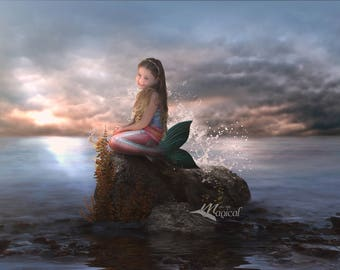 Mermaid digital Backdrop | Mermaid digital Background | Ocean Backdrop | seaside background | photo background | Digital Backdrop