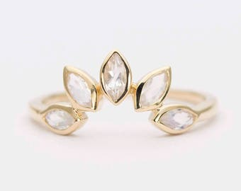 Ready to ship! Marquise Moonstone 14K Gold Wedding Band Curve Crown Ring AD1250