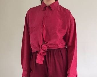 Vintage Mahogany Whisper Thin 100% Silk Pocket Blouse / Oversized Button Up