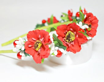 Red headband  Headband Ukraine Red poppy Couronne fleur Hair accessories Rusteam ukrteam Red poppy flower Ukrainian hair band Gift for girls