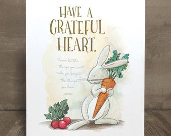 Children's rabbit art print, nursery art, kid character trait, gratitude