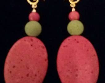 Pumice stone colored earrings