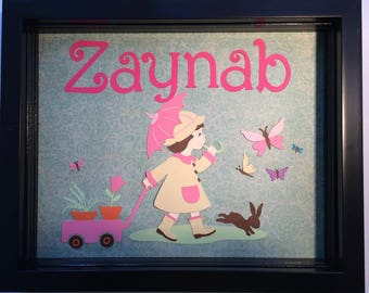 Little Girl in a Raincoat - personalized shadow box frame