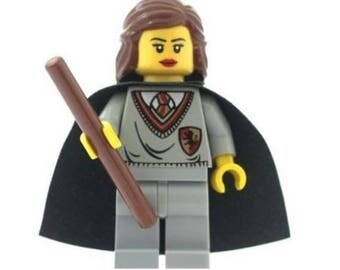 Hermione Granger Gryffindor Minifigure & Wand (Harry Potter) Made from LEGO Parts and a Custom Cape