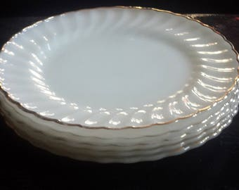 Anchor Hocking Fire King Milk Glass Dinner Plates with Gold trim Set of 5
