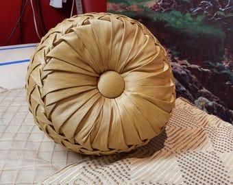 "Gold round Silk Smocked pillow - 14"" diameter"