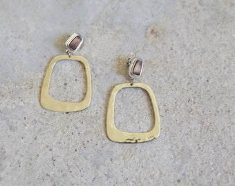 wood and gold earrings