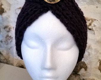 Ladies Turban Style Hat with Brooch Detail