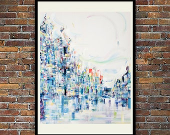 Abstract cityscape, Ethereal, abstract art print, modern art, wall art, fine art prints, original art gifts, abstract painting, contemporary