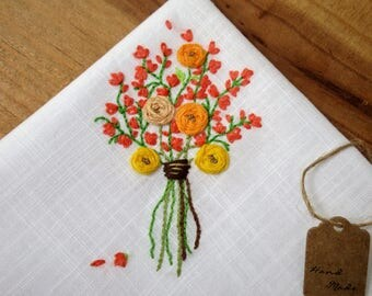 Embroidered handkerchief handmade hand embroidery wedding souvenir gladiolus memory guest gift mother of the bride groom bridesmaids roses
