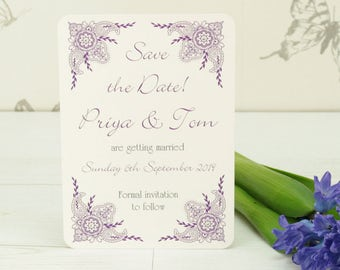 Personalised Indian Garden Wedding Save the Date Card