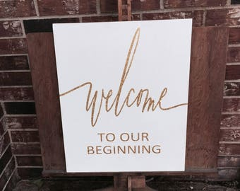 Welcome to our beginning and they live happily ever after double sided glitter Wedding entry sign/Reception sign.