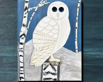 Barn Owl in Snowy Birch Forest Original Acrylic Painting on Canvas