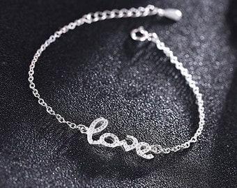 SALE! Silver Love bracelet 925 crystals cubic zirconia woman love Word modern minimalist jewelry