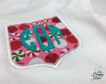 Christmas Pocket Tee ~ Girls Custom Embroidered Pocket T-Shirt ~ Round Monogram Embroidered Pocket ~ Girls Christmas Gift ~ Peppermint Shirt