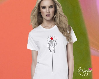 Organic cotton T-Shirt with printed Blume02, design by Geli