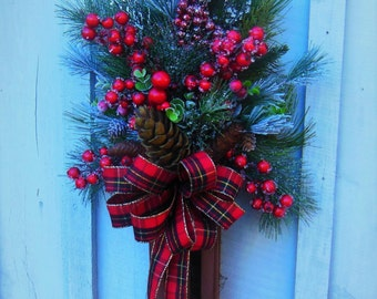 Winter Wreath Swag, Winter Swag Wreath, Red Berry Wreath, Christmas, Wreath, Christmas Swag, Front Door Wreath, Door Swag, Porch Door Wreath