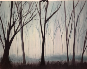 Misty foggy woods landscape oil painting on canvas paper mystical