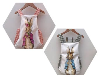 Handmade, peter rabbit romper, flopsy bunny, beatrix potter, romper, baby girl, baby boy, toddler, unisex, cake smash, first birthday, chris