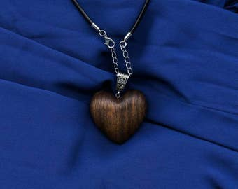 Wooden heart necklace, wooden necklace, wooden jewellery, gift for her, valentines, wooden heart pendant, made from Rokfa wood.