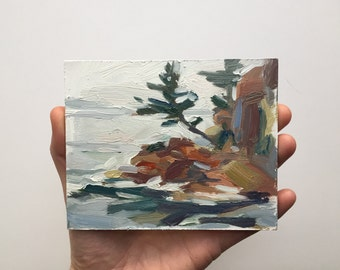 Original oil sketch, Maine Coast, Seascape, Landscape Painting