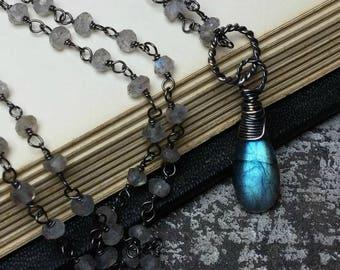 Labradorite Necklace Gemstone Necklace, Handmade Jewelry, Blue Labradorite Pendant Necklace, Oxidized Silver, Labradorite Jewelry, Gift Idea