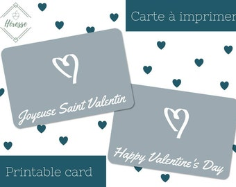 Valentine's day card, 10x15cm (4x6 in.) - Heart - English & French