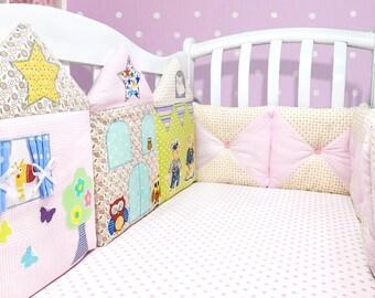 Baby girl nursery bedding: crib cot bumper, newborn girl gift, baby girl gift (004)