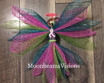 Metastatic Breast Cancer Awareness Angel, metastatic cancer awareness, angel decor, cancer awareness, deco mesh angel, memorial