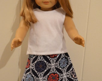 "18"" Doll Clothing: Blue/Teal/Coral/White Skirt With White Sleeveless Top"