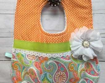 Shabby Chic Orange and Turquoise Basby Girl Bib