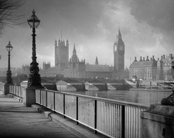 London, Big Ben, Thames River, England, city, sidewalk, photography, wall art