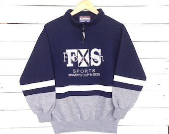 Rare !! Vintage 90s Flourish Sport Studio Sweatshirt  Embroidery Big Logo Medium Size #A3