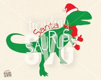 Santa Saurus, SVG Cutting File, Kids Christmas Shirt Cricut Silhouette, Dinosaur T-Rex Holiday Spririt, PNG JPG, Instant Download, Overlay