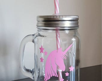 Unicorn mason jars with pink and white candy striped straw