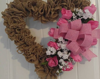 Burlap Heart Wreath With Tulips, Tulip Wreath, Pink Heart Wreath