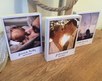 Photo block | Set of 3 | Polaroid frame | Wedding gift | Anniversary gift | Personalised photo | Photo display | Gift for him | Gift for her